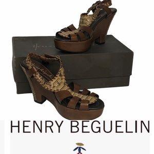 Vintage Henry Beguelin Br Leather/Python Platforms